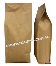 1Kg Side Gusset Coffee Bags with Valve (Quad Seal) - Kraft Paper