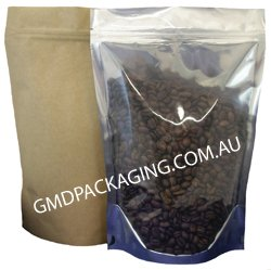 750g Stand Up Pouch Coffee Bags with Zip (Kraft Paper / Clear)