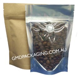 70g Stand Up Pouch Coffee Bags with Valve and Zip - Clear / Kraft Paper