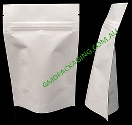 100g Stand Up Pouch with Zip - All White Kraft Paper