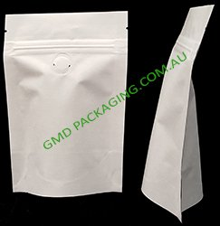 100g Stand Up Pouch Coffee Bags with Valve and Zip - All White Kraft Paper