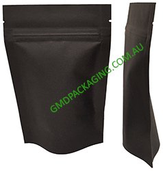 500g Stand Up Pouch with Zip - All Black Kraft Paper