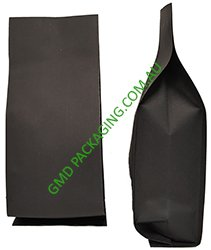 250g Side Gusset Bag (Quad Seal) - Black Kraft Paper