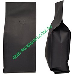 500g Side Gusset Coffee Bags with Valve (Quad Seal) - Black Kraft Paper