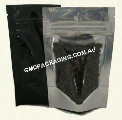 70g Stand Up Pouch with Zip - Clear/Black