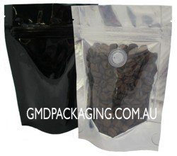 70g Stand Up Pouch Coffee Bags with Valve and Zip - Clear/Black