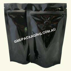 70g Stand Up Pouch Coffee Bags with Valve and Zip - Solid Black