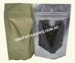 70g Stand Up Pouch Coffee Bags with Valve and Zip - Clear/Gold