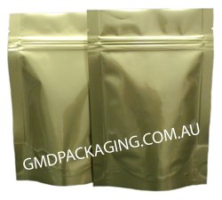 70g Stand Up Pouch Coffee Bags with Valve and Zip - Solid Gold (Bright)