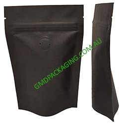 250g Stand Up Pouch Coffee Bags with Valve and Zip - All Black Kraft Paper